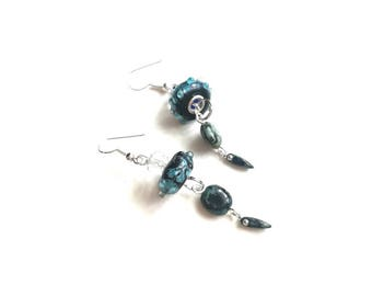 Blue black earrings,boho black blue drop long lampwork beads blue exclusive handmade fashionable earrings, blue drop earrings, blue lampwork
