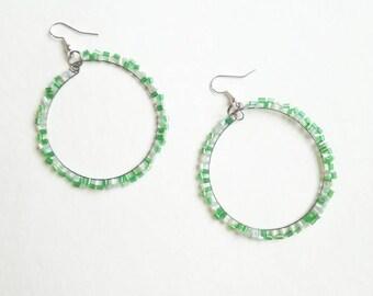 Green beaded earrings fashionable handmade long exclusive earrings green creamy unique beaded fashionable handmade long exclusive earrings