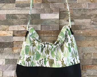 Boho Vegan faux leather tote Cactus fabric shoulder bag