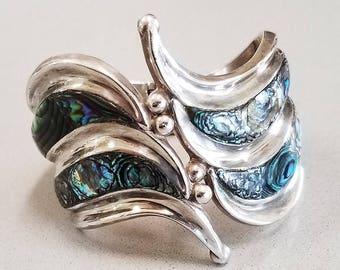 Vintage Taxco Abalone Clamper Bracelet - Abalone Hinged Cuff Bracelet - Signed 'SHC' - Eagle 3