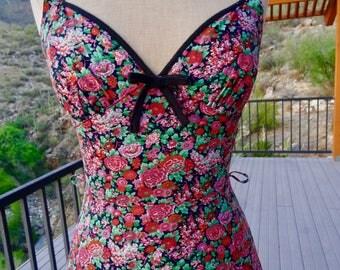 VINTAGE 70s SUNDRESS/BOHEMIAN Maxi Summer Rose Floral Sundress/Hippie Festival Dress/Tiered Retro Maxi Sundress/ Betty Barclay Vintage Dress