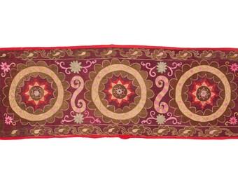 2'4'' x 6'8'' Vintage UZBEK all over embroidered SUZANI wall hanging in silk Pishkent, Tashkent , Free Shipping with ups