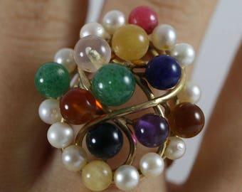 Ming's Hawaii Quartz Pearl Cluster Ring Size 5.5