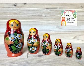 Set of Six Belarusian Vintage Nesting Dolls, Retro Orange & Red Matryoshka Dolls, Wooden Doll, Hand Painted Folk Art.