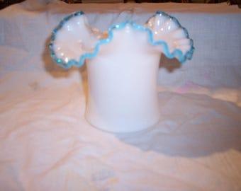 Fenton Aqua Crest Hat Vase Tripoint