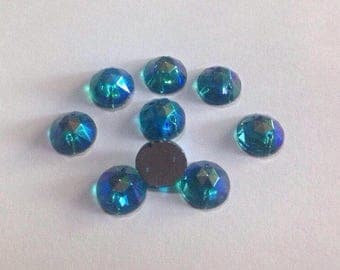 Set of 9 Vintage 13 mm Czech round glass stones faceted blue glass gems