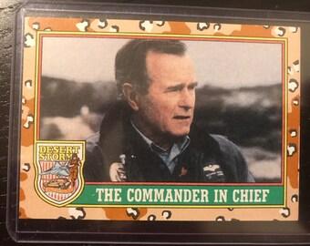 """1991 Topps Desert Strom #1 President Bush """"Commander In Chief"""""""