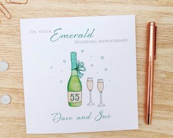 Personalised Emerald Wedding Anniversary Card - Personalised 55th Wedding Anniversary Card - Personalised Emerald Anniversary Card