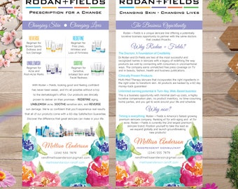 PRINTABLE Rodan and Fields Business Opportunity Flyer and Product Cards, Rodan and Fields Brochure RF001