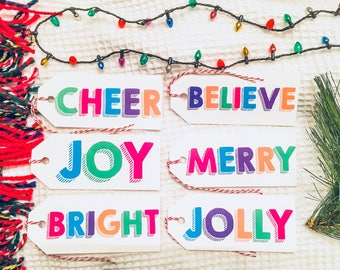 Bright & Bold Holiday Gift Tags
