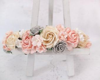 Blush pink ivory and gray flower crown - wedding floral hair wreath - flower headpiece - flower hair accessories for girls