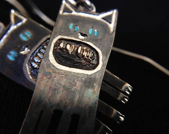 Cute Kitty Silver Earrings BLACK CAT, Handmade jewelry,  Kitten Earrings, Silver Cat Earrings, Contemporary Silver, Black Cat Earrings