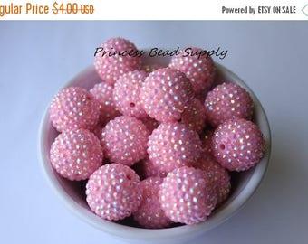 SALE Big 24mm Pink AB Rhinestone Chunky Beads Set of 6, 24mm Focal Bead,  Bubble Gum Beads, Gumball Beads, Acrylic Beads