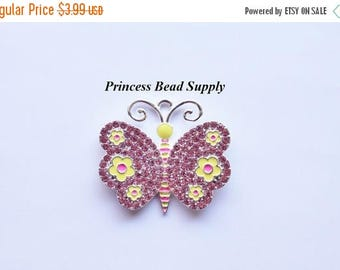 SALE Pink and Yellow Butterfly Pendant for Chunky Necklaces,  35mm x 40mm  Pendant, Chunky Necklace Pendant, Butterfly Cabochon, Spring Pend