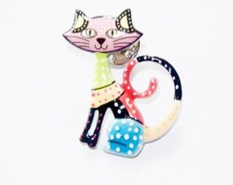 Pin's chat en émail sur métal argenté multicolore