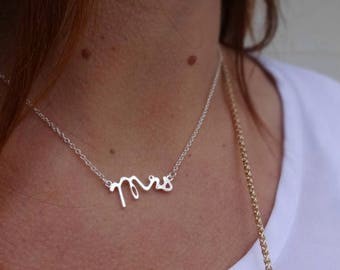 """MRS. New wife new beginnings wedding bliss. Stunning necklace modern and classic """"Mrs."""" minimalist appeal taken and merry commitment"""