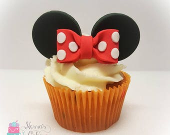Minnie Mouse ear and bow edible fondant cupcake toppers
