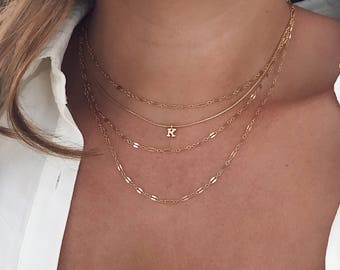 Initial Letter Necklace, Cuostom Layered Necklace , 14k Gold Fill, Delicate Necklace, Dainty Necklace, Name Necklace,