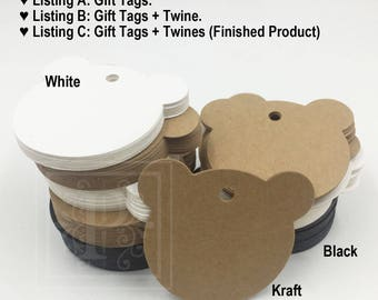 25pcs - Bear Head Kraft Tags, Gift Tags, Holiday Gift Tags, Baby Shower Gift Tags,  Wine Bottle Tags, Kraft Tags, Size 6cm