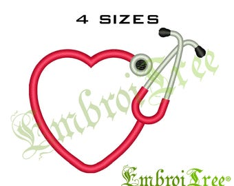 HEART STETHOSCOPE Embroidery Design Machine Embroidery Stethoscope Heart Monogram Frame Embroidery Pattern Border File Download