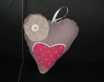 "Decorative door pillow ""pink heart dots"""