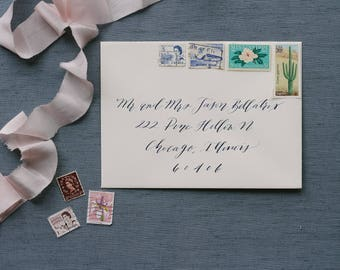 Modern, Romantic Calligraphy Envelope Addressing for Wedding/Holidays/Save the Dates