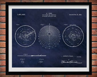 1921 Star Finder and Identifier Patent Print Invented by Gilbert Rude - Nautical Wall Art -  Marine Ocean Celestial Navigation System Patent