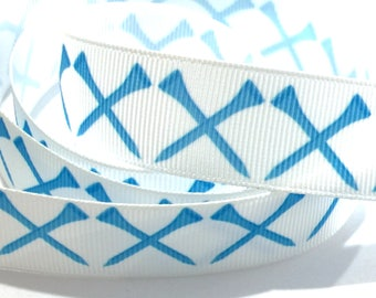 "7/8"" inch Aqua Teal Golf Tee Tees on white - Matches Golf Ribbon- Printed Grosgrain Ribbon for Hair Bow - Original Design"