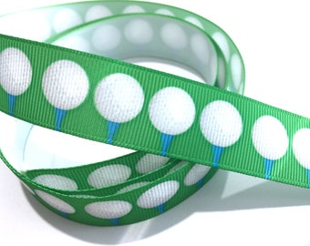 "7/8"" inch Golf Balls on Tee Tees on green - Matches Golf Ribbon- Printed Grosgrain Ribbon for Hair Bow - Original Design"