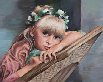 Girl, sad, thinking, blonde, wreath, flowers, hands, arm-chair