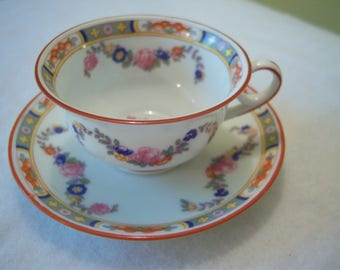 demitasse cup and saucer,Altrohlau,Czechoslovakia,porcelain,pink blue orange,espresso cup and saucer,dining and serving,small teacup