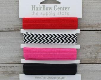 "5/8"" Wide Fold Over Elastic 4 Yard Variety Pack: 1 yard each - Red, Black Chevron, Shocking Pink, Black"