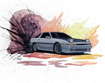 Watercolor Toyota Supra Drift Print