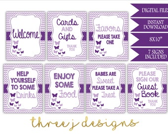 Butterfly Baby Shower Table Sign Package - Bundle of 7 Signs - INSTANT DOWNLOAD - Plum and Lavender - Digital Files - J004