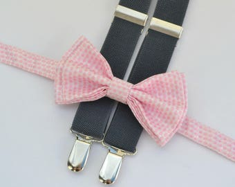 Blush Bow Tie & Charcoal Gray Suspenders with Blush Pocket Square -- Ring Bearer Outfit -- Bow Tie Suspenders Pocket Square