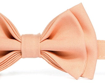 Peach Bow Tie & Peach Pocket Square -- Baby Bow Tie, Toddler Bow Tie, Boy Bow Tie, Men's Bow Tie -- Father Son Matching Bow Ties