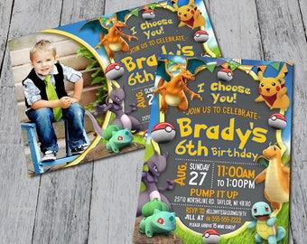 Pokemon Themed Birthday Party Invitation (Digital)