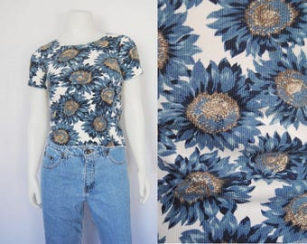 90s sunflower print t-shirt, vintage floral top -- ribbed, cropped, stretchy,  crop top, grunge clothing, hippie, 1990s clothing
