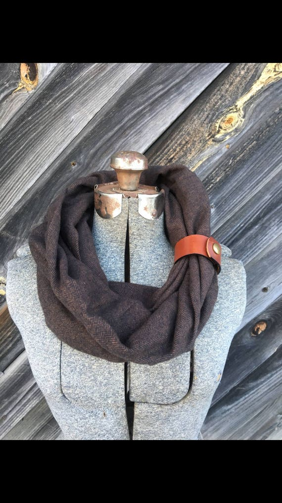Brown herringbone  flannel eternity scarf with a brown leather cuff - soft, trendy