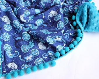 Cat baby blanket, Baby boy minky blanket, Pom Pom baby blanket, Newborn Blanket, Galaxy baby boy, Minky blanket, Newborn gift, baby gift