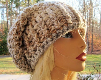 Chunky Slouch Hat, Slouchy Beanie, Crochet Hat, Gift for Her, Beige, Handmade, Winter Accessory, Hair Accessory, Crochet Slouch Hat