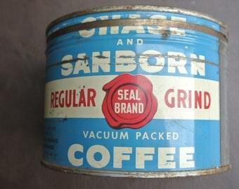 Vintage Coffee Tin, Round Coffee Tin, Rusty Coffee Tin, Round Tin with Lid, Chase and Sanborn Coffee Tin, Blue and White Tin, Farmhouse Tin