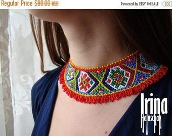 Sale Reconstruction of ancient folk Ukrainian beaded necklace Gerdan Seed bead necklace Ukrainian style Bead necklace to vyshyvanka Ethnic s