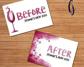 Hen party games before and after signs (A4) - keepsake photos