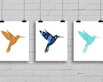 Set of 3 Hummingbird Art Prints