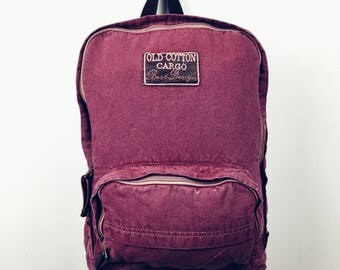 handmade vintage style backpack , organic cotton
