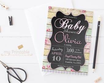 Floral Baby Shower Invitation / Digital Printable Flowers Invite / DIY Party