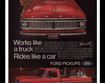"""Vintage Print Ad 1960s : Ford Pickup Truck Automobile Car Wall Art Decor 8.5"""" x 11"""" each Advertisement"""