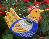 ceramic hen indoor/outdoor ornament | wall hanging | plant ornament | handmade ceramic chicken NOT QUITE PERFECT