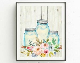 Mason Jar Art Print Etsy